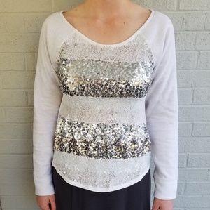 ▪Express▪Sequin & Lace Cream Sweatshirt